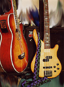 Phil's beloved basses: #5 (Crafter) from The Bass Cellar, London 2001 and #3 (Ibanez) from Cash Converters, Middlesbrough 1997