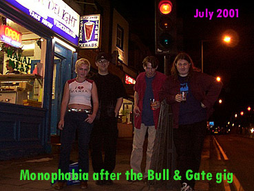 Zizi, Dave, Tony & Phil after the Bull & Gate gig Kentish Town, July 2001